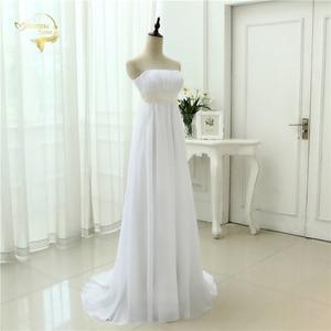 Image 4 - Vestido de novia sin tirantes, traje Empire, para embarazadas, de gasa, blanco marfil, largo, de talla grande, 2020