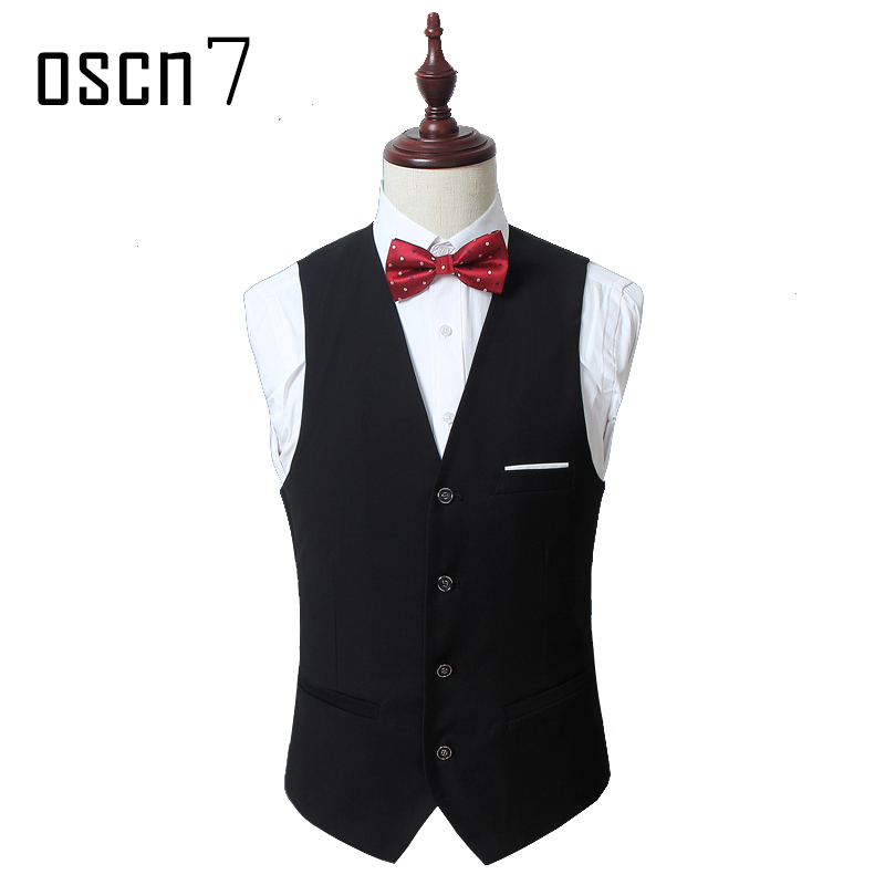 OSCN7 Solid font b Mens b font Vest font b Suit b font Slim Fit Business