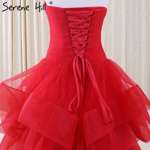 Image 5 - Vestido De noche largo con hombros descubiertos, plisado, rojo, tul, Formal, 2020