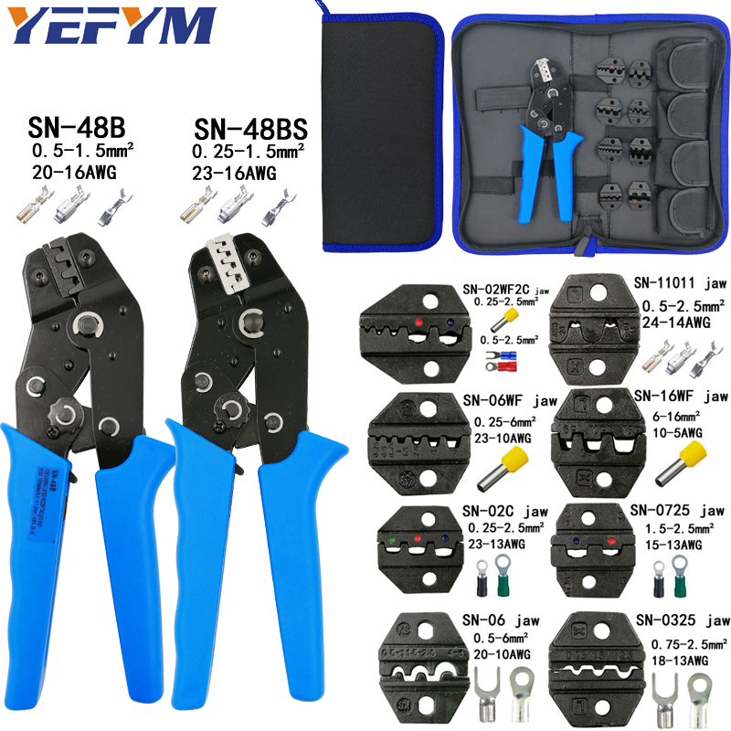 Alicates SN-48B SN-48BS 8 mandíbula kit paquete para 2,8 de 4,8 de 6,3 VH2.54 3,96/2510/tubo/un aislamiento terminales eléctrico abrazadera herramientas