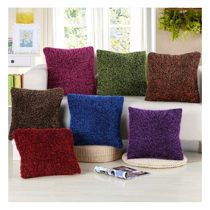soft shaggy sofa cushion cover solid color throw pillow covers cushion case decorative pillow case plain red coffee 43x43cm - Red Decorative Pillows