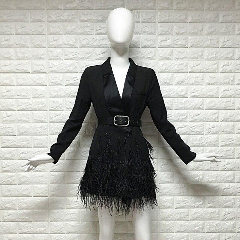 YNZZU Elegant Solid Blazer Dress Women 2018 New Slim Long Sleeve Feathers Short Dress Female OL Work Wear Party Dresses D037 in Dresses from Women 39 s Clothing