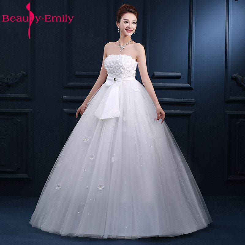 Beauty-Emily Strapless Real Photos simple Wedding Dresses 2018 Bride Dress Long Floor Length Lace Bridal Gowns For Wedding