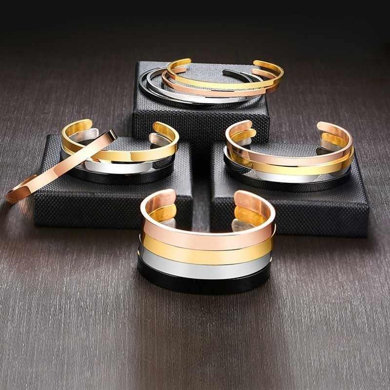 Inspirująca bransoletka mankietowa bransoletka dla kobiet różowe złoto srebro grawerowane bransoletki Mantra żona narzeczona personalizowane prezenty
