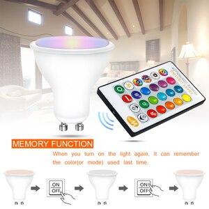 Image 5 - 4Pcs GU10 Rgb Lampen Bombillas Led 8W GU10 Rgbw Rgbww Led Lamp Dimbaar Wit Warm Wit Gu 10 led Lamp 16 Kleuren Met Afstandsbediening