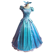 лучшая цена The little Mermaid Princess Ariel Dress Cosplay Costume Fancy Princess Cosplay Halloween Dress for Women Adult Ariel Dress