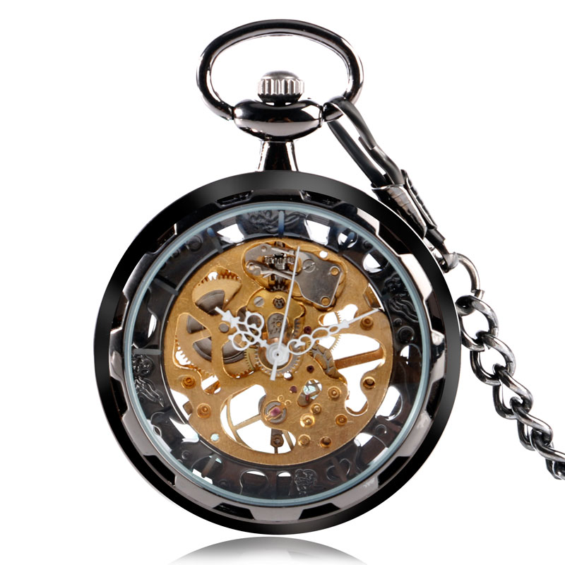 Vintage Classic Black Open Face Skeleton Mechanical Hand Winding Pocket Watch Men Women Pendant with Fob Chain Birthday Gifts
