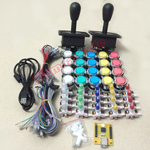 hot deal buy arcade game led diy kit for 2 players: 2* happ style joysticks & 20 * led buttons & 2 player pc encoder usb to jamma