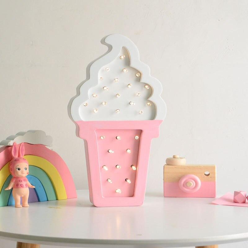 Wooden ice Cream LED Night Light Ins Style Baby Bedroom Bedside Night Lamp for Children Girls Home Decor Light