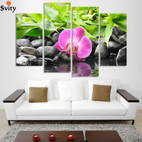4 Panel Wall Art Botanical Green Feng Shui Orchid Oil Painting On Canvas Quartz crystal Abstract Paintings Pictures Decor H160