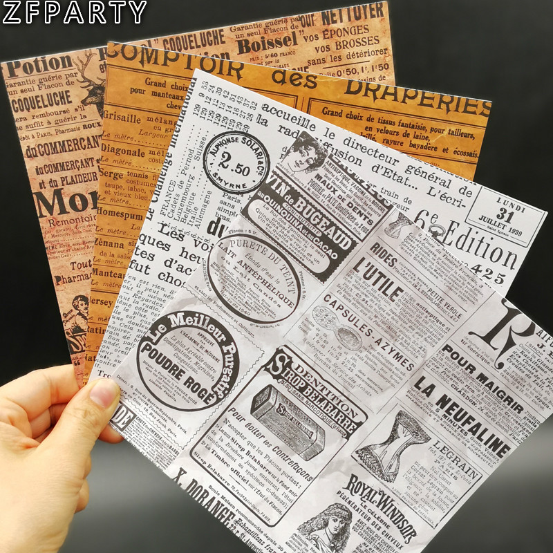 ZFPARTY Vintage Newspaper Background Stickers for Scrapbooking Happy Planner/Card Making/Journaling Project ...