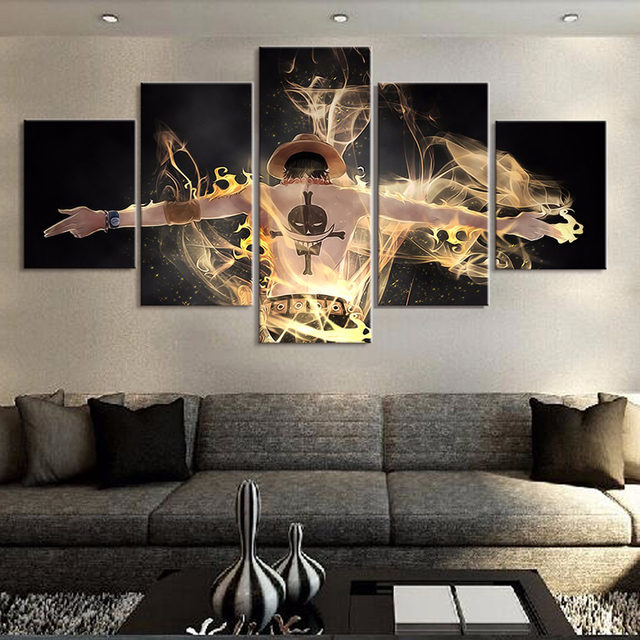 One Piece Wall Art Home Decoration Canvas Painting Poster 5 Pieces Character For Living Room Modern HD Pictures Prints Frame TYG