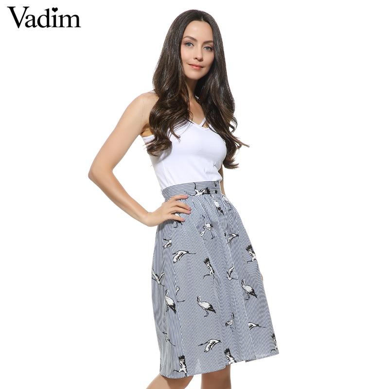 Women sweet birds print mid calf striped skirts open stitch buttons design summer casual ...