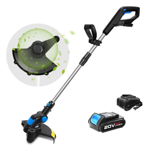 20V Electric Grass Trimmer Cordless Lawn Mower 12in Auto Release String Cutter Pruning Garden Tools 2000mAh Li-ion By PROSTORMER 3