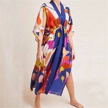 Women Cardigan Womens Open Front Floral Print Cotton Loose Kimono Cover up Shirt
