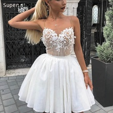 SuperKimJo Beaded Homecoming Dresses Short White Lace Applique Cocktail Dess 2019 Vestidos Graduacion Cortos
