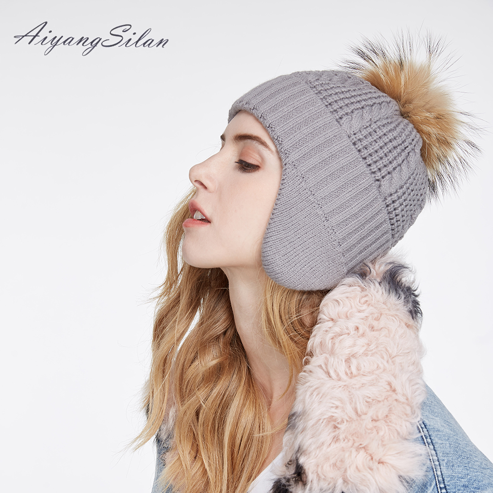 AiyangSilan Winter Warm Knit Beanie Natural Raccoon Fur Pom Hats Women Hat Fur Ball Knitted For Ladies Ear Protect Beanies adult beanie skullies rabbit fur ball shining warm knitted hat autumn winter hats for women