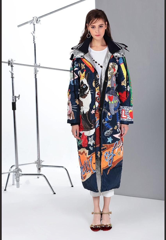 European& American 2017 Fall/winter woman's fashion cartoon print loose Parkas coat high quality warm hooded overcoat