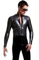 Sexy Men Black PU Leather Leotard Costumes Latex Zipper Catsuit Pole Dance Nightclub Erotic Body Suits