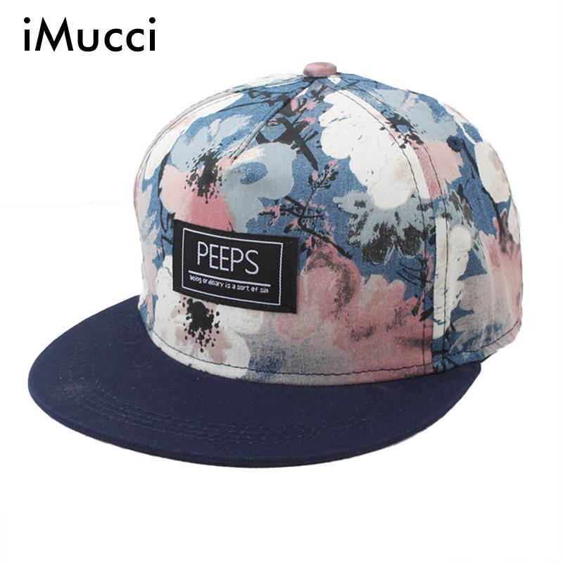 iMucci New Arrival Men Women Floral Print Snapback Adjustable Baseball Cap Spring Unisex Flat Along Flowers Cool Hip Hop Hat brushed cotton twill ivy hat flat cap by decky brown