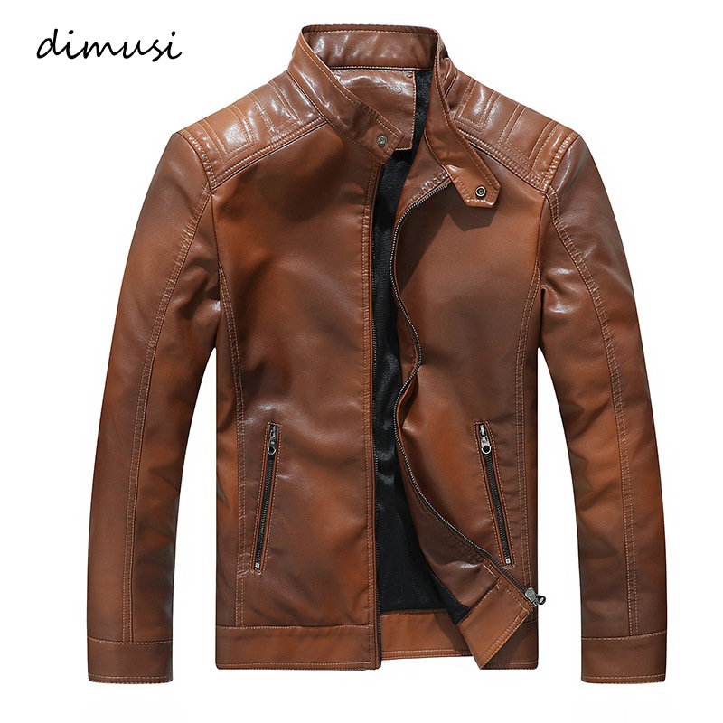 DIMUSI Men's PU Jacket Leather Coats Winter Mens Slim Fit Faux Leather Motorcycle Biker Jackets Male Leather Coats Clothing 3XL
