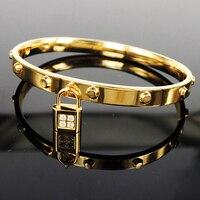 India brazaletes pulseras joyería amantes de bloqueo pulseras mujer pulsera de acero inoxidable brazalete pulseras para las mujeres