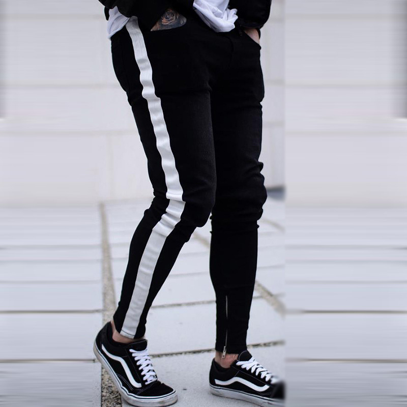 Skinny   Jeans   Men Hip Hop Stripe Elastic Slim Fit Denim Pants Male Stretchy Pencil Bottoms street Knee Ripped Holes   Jeans