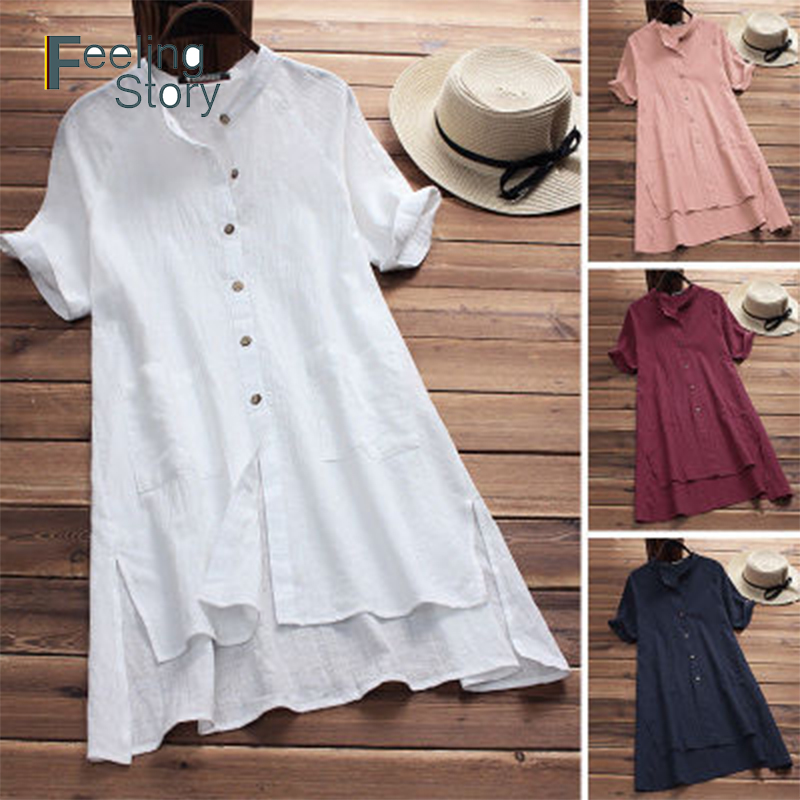 Women Retro Round Neck Back Buttons Solid Casual Loose Cotton Midi Shirt Dress