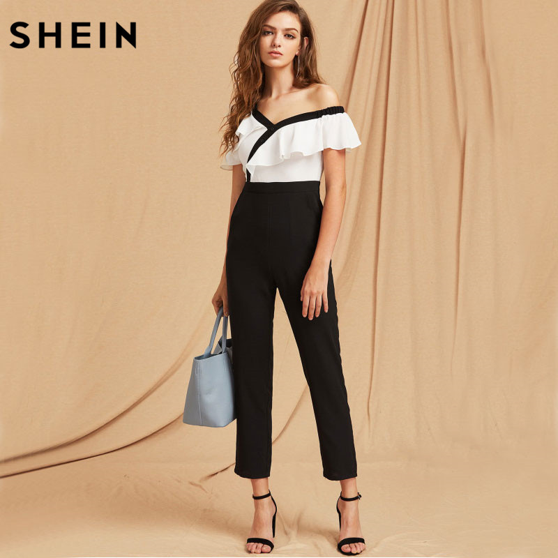 a90b52430361 SHEIN Jumpsuits For Women Black and White Two Tone Flounce Asymmetric  Shoulder Tailored Spring Autumn Long