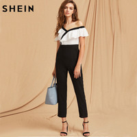 SHEIN Jumpsuits For Women Black And White Two Tone Flounce Asymmetric Shoulder Tailored Spring Autumn Long