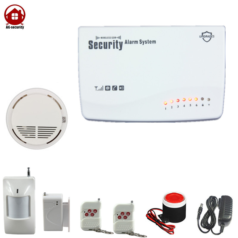 Wireless Home Office Shop GSM SMS Smoke Detecter Fire Alarm security system remote control free shipping free shipping 1pcs mobile remote control gsm sms controller alarm control relay module