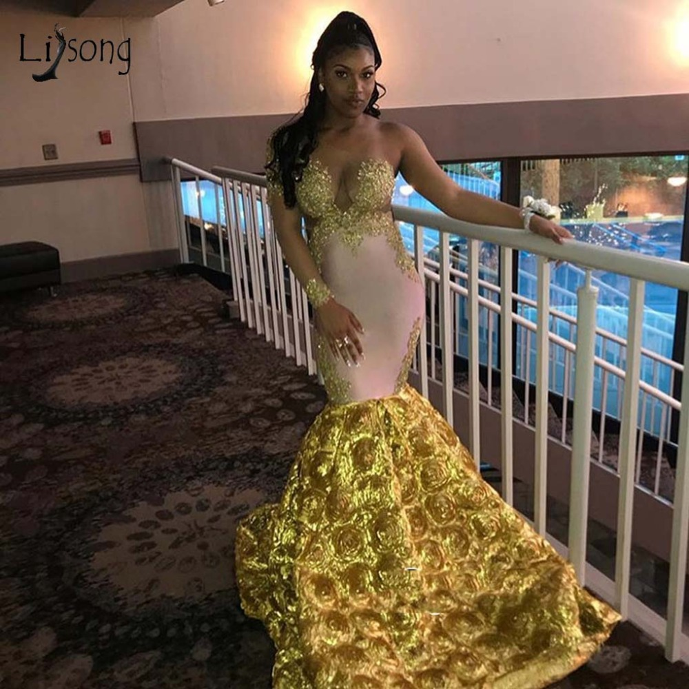Sexy Gold Rose Flower Mermaid Long   Prom     Dresses   2019 Lace Appliques 2019   Prom   Gowns See Thru One Shoulder Robe De Soiree