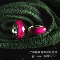 15*16mm 925 silver earrings flash high grade red corundum Hoop Earrings women jewelry Natural semi precious stones high quality