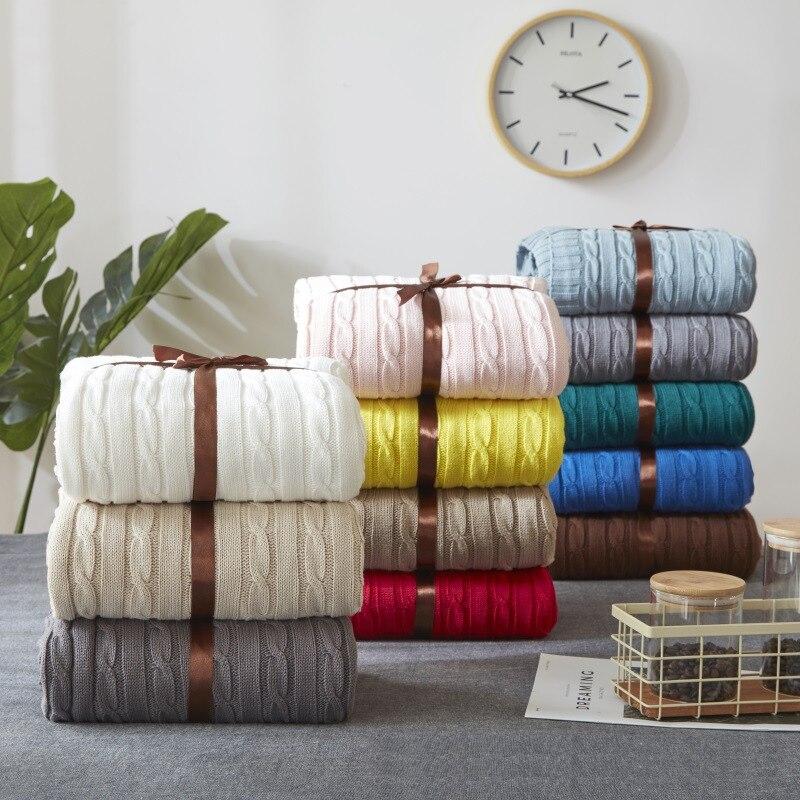 100% Coton Solide Tricoté Couverture Nordique Simplicité Jeter pour Lit Canapé Printemps/Automne Bureau Châle 12 Couleurs Voyage en tricot couverture