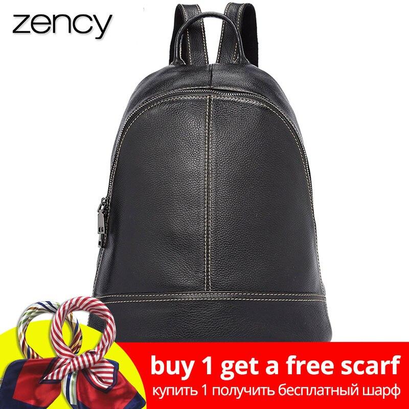 Zency 100% Genuine Leather Simple Fashion Women Backpacks Ho