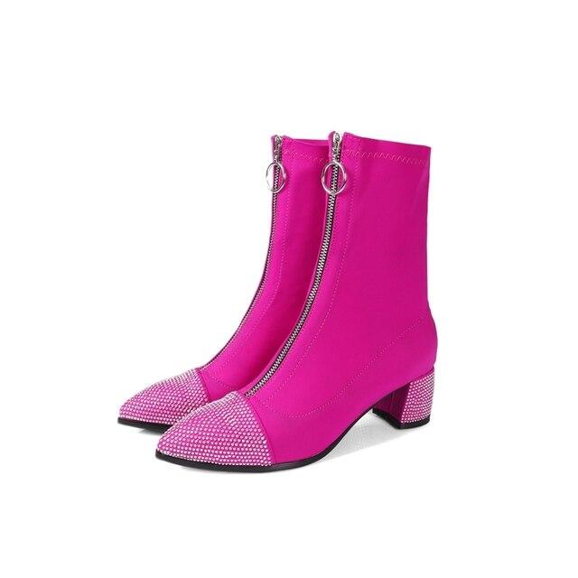 chaussures de séparation d3d5c 9ef6f 2019 nouvelles femmes bottes stretch bottines bout pointu talon bottillons  chaussures avant fermeture éclair avec diamants