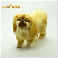 Con chó mô phỏng 16x15 cm vàng bắc kinh mô hình nhựa & lông thú đồ chơi, thủ công mỹ nghệ, nhà trang trí Xmas quà tặng w5708