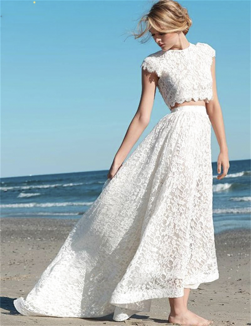 Fashion boho long wedding dress 2016 simple o neck two for Marry me wedding dresses