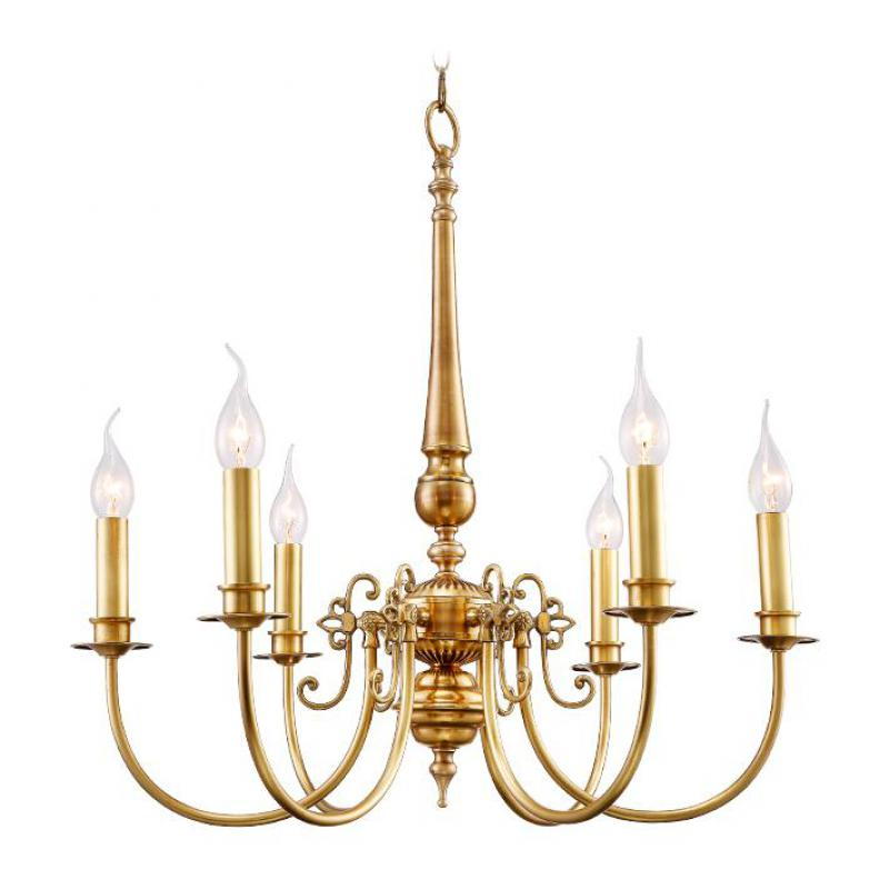 Cafe Kitchen Antique 6-arm Led candle light Chandelier Living Room foyer Full Copper hanging lamp American rustic Chandeliers
