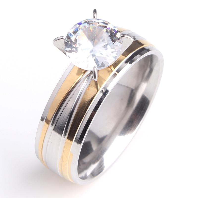 free shipping 6mm cross stripe zircon 316L Stainless Steel finger rings for men women wholesale