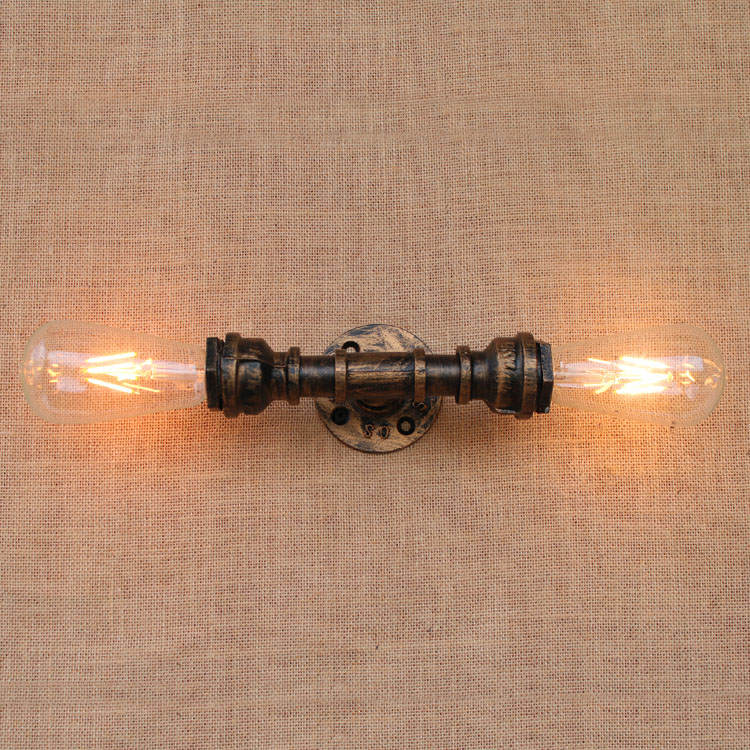 Nordic Style Iron Steampunk Water Pipe Vintage Edison Loft Wall Lamp E27 110v 220v Led Light For Bedroom Wall Light Fixtures