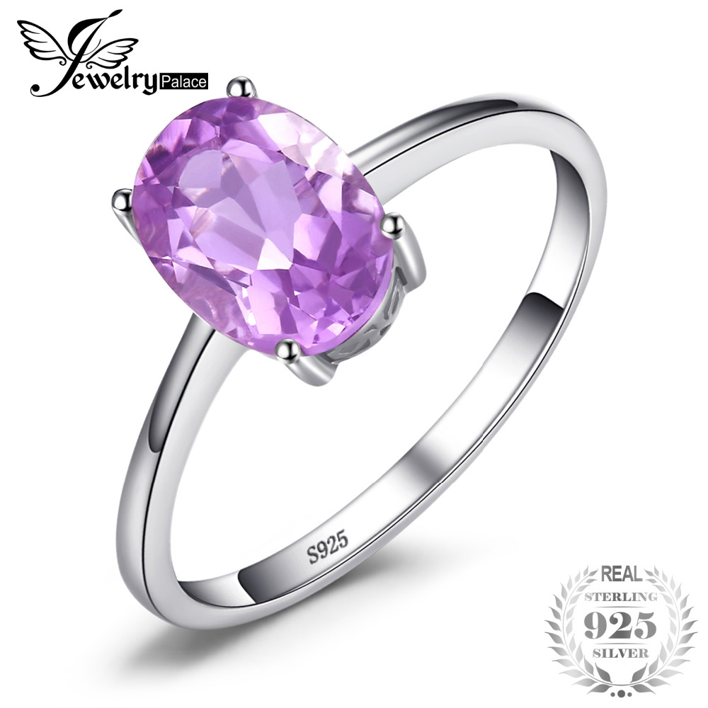 JewelryPalace Oval 1.1ct Natural Purple Amethyst Birthstone Solitaire Ring Solid 925 Sterling Silver Women Fashion Fine Jewelry jewelrypalace trillion 1 1ct natural purple amethyst solitaire ring 100% 925 sterling silver women fashion jewelry big promotion