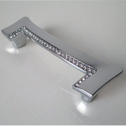 96mm fashion deluxe diamond silver kitchen cabinet handle chrome cupboard pull k9 crystal drawer dresser furniture handle knob furniture drawer handles wardrobe door handle and knobs cabinet kitchen hardware pull gold silver long hole spacing c c 96 224mm