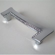 96mm fashion deluxe diamond silver kitchen cabinet handle chrome cupboard pull k9 crystal drawer dresser furniture handle knob