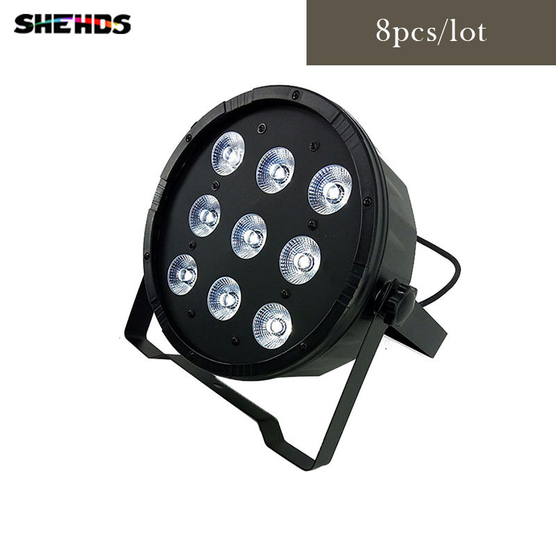 цены 8pcs/lot LED Par 9x12W RGBW 4IN1 DJ Disco Lighting Led RGBW Stage Par Light DMX Controller Party Disco Bar Strobe Dimming Effect
