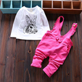 Новорожденных мальчиков девочек одежда 2016 новая весна мода детские комплект с длинным рукавом футболка + комбинезон брюки животных печатные костюмы