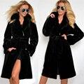 2016 Invierno Moda Mujeres Negro Faux Fur Coat Largo Ajustable cintura Abrigo de Piel Artificial Delgado Maxi de Manga Larga Gruesa Caliente chaqueta