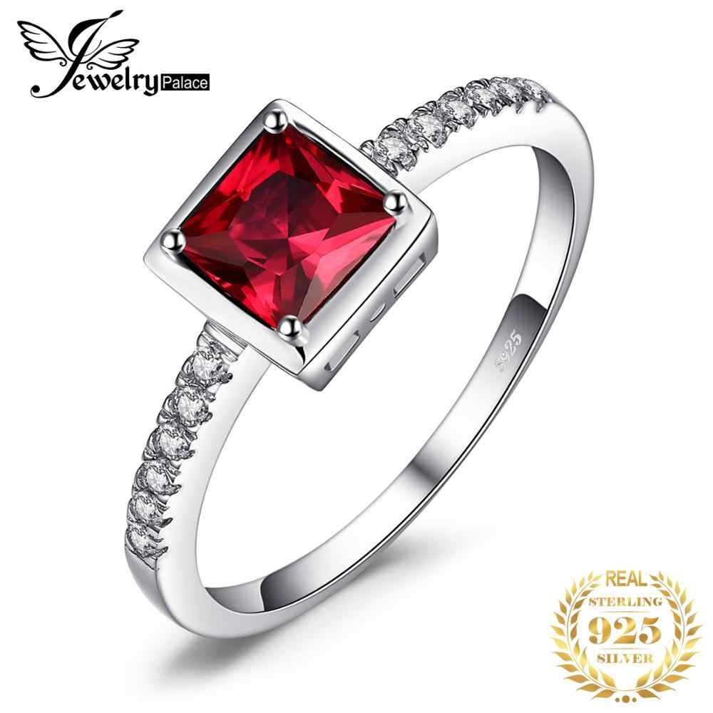 JewelryPalace  Pigeon Blood Ruby Ring Solid 925 Sterling Silver Romantic Flower Classic Ring Brincos New for Women