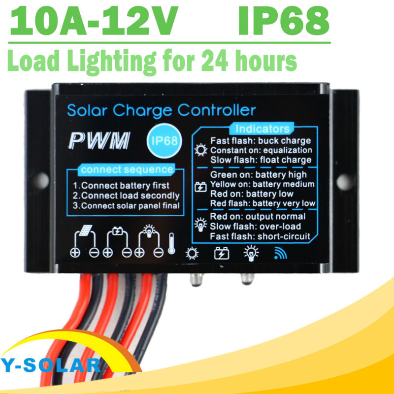 Solar Charge Controller 10A 12V Waterproof IP68 Load Working for 24 hours 3a 6v 12v mini solar charge and discharge controller waterproof load working 24 hours