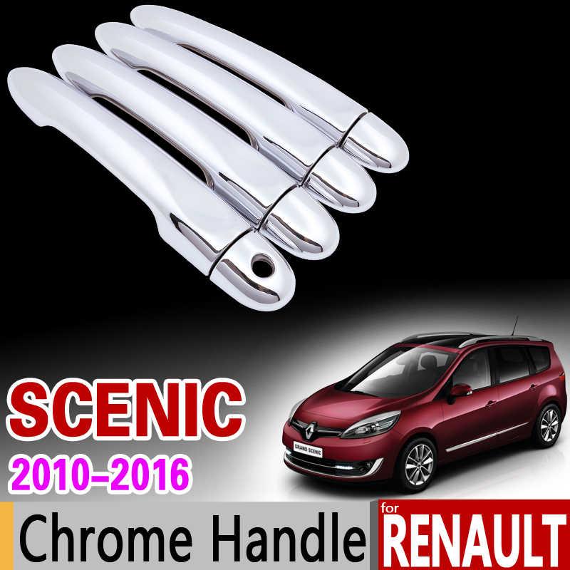 Pour Renault scénic III 2010-2016 Chrome poignée couvercle garniture Grand scénic XMOD 2011 2012 2013 2014 2015 accessoires voiture style 3